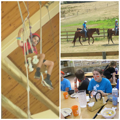 Rope clmibing, horse back riding, and safe dining at Gluten Free Camp Manitou-Lin
