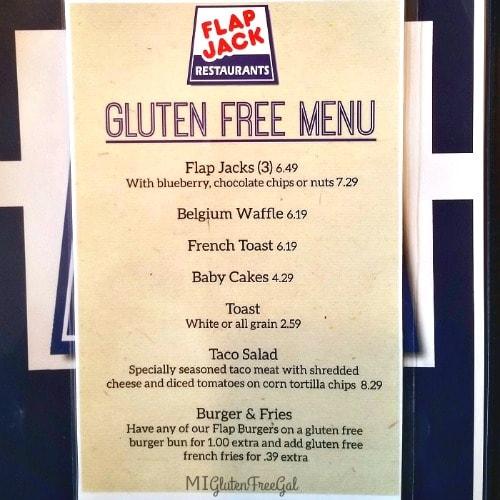 Dewitt Flap Jack Shack Gluten Free Menu
