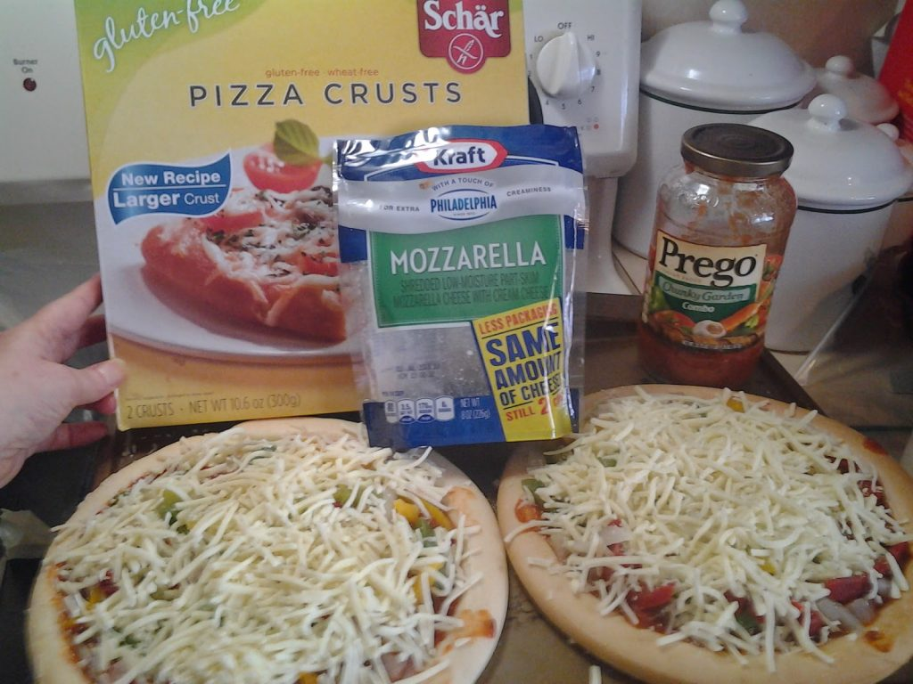 Schar Gluten Free Pizza crusts with toppings