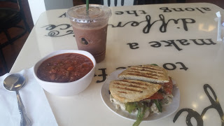 Gluten-free grilled panini, cup of chili and smoothie at Little Mustard Cafe Shoppe
