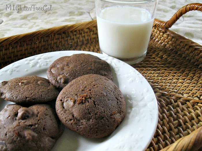 coffee flour gluten free chocolate chips cookies on angle