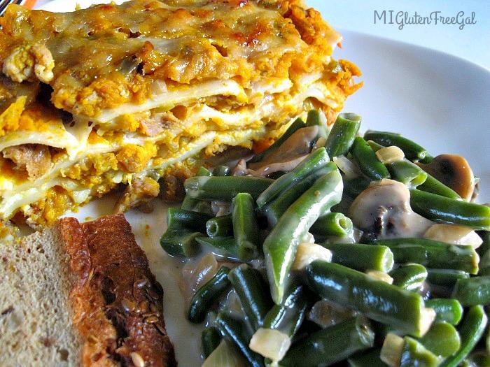 gluten-free butternut squash lasagna side view