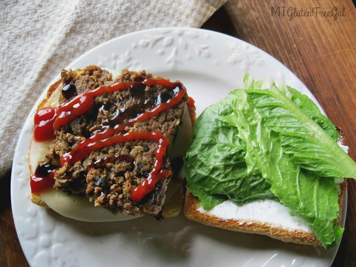gluten-free meatloaf open face sandwich