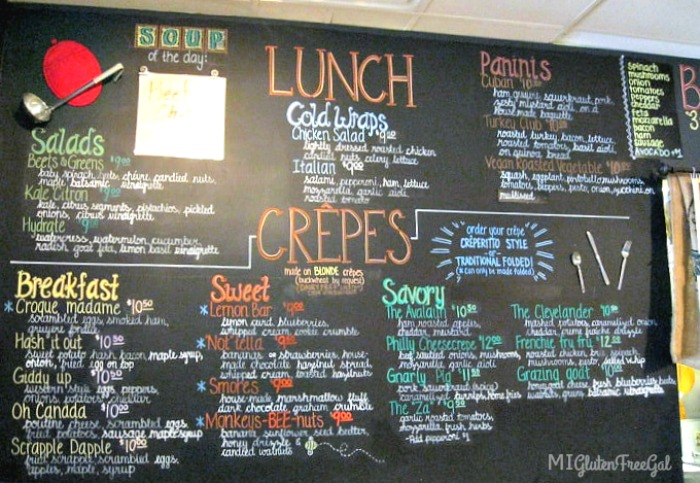 cafe avalaun crepe menu wall