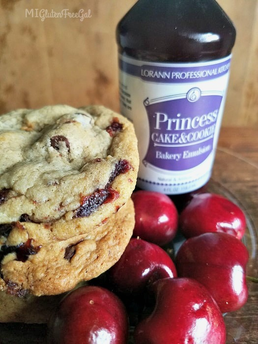 gluten-free cherry chocolate chunk cookies made with LorAnn Princess Cake and Cookie Bakery Emulsion