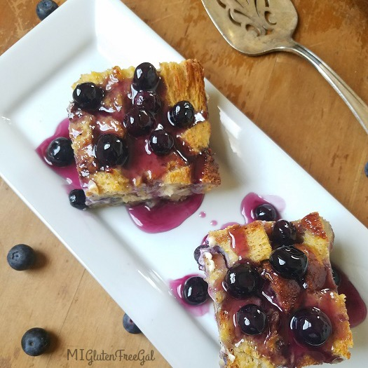 Overnight Blueberry French Toast Casserole made with Canyon Bakehouse Heritage Style bread