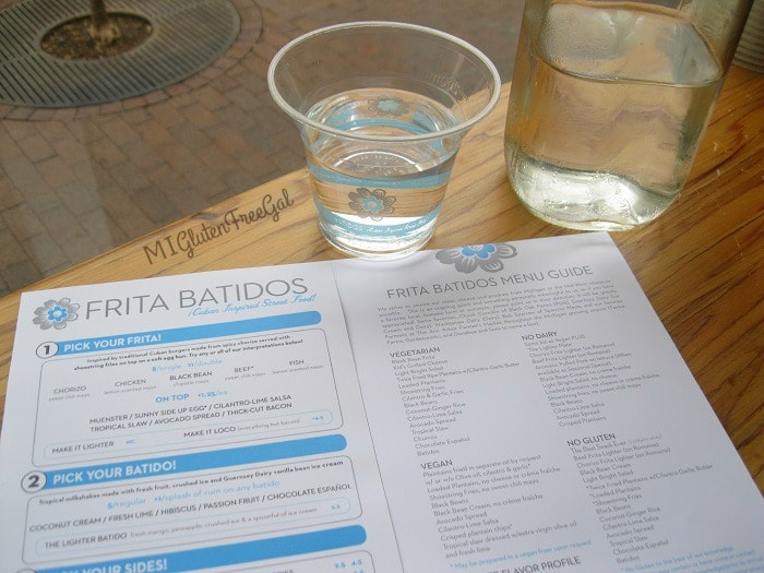 Teh Menu Guide at Frita Batidos helps diners pick safe food options