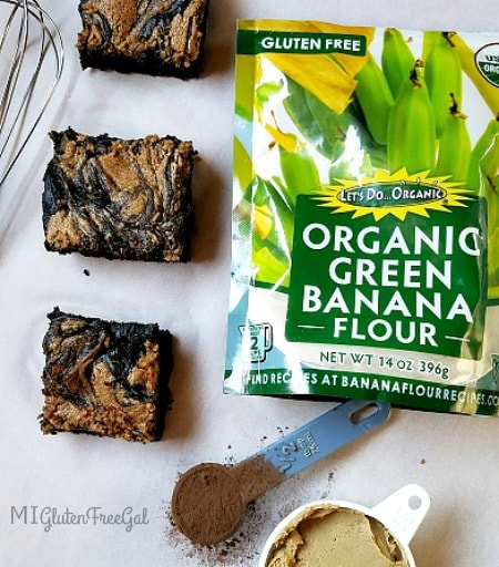 gluten-free Banana Flour Brownies with ingredients