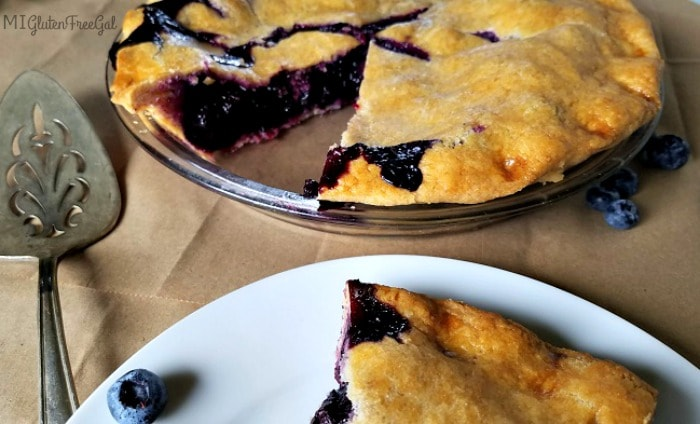 This gluten-free blueberry pie is best when allowed to rest for 24 hours