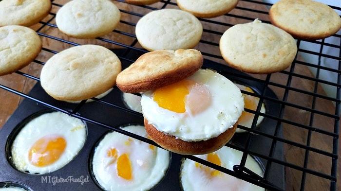 gluten-free breakfast sandwich on the cooling rack- MI Gluten Free Gal
