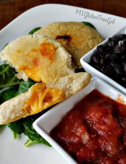 The cheesy center of these gluten-free pupusas is DELISH!