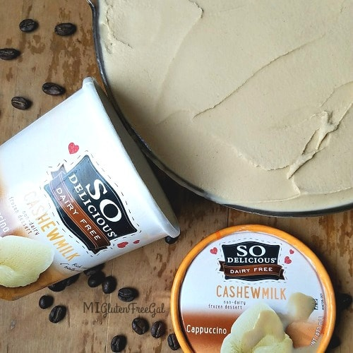 This So Delicious Cappuccino Dairy-Free Ice Cream is perfect for making my gluten-free mud pie!