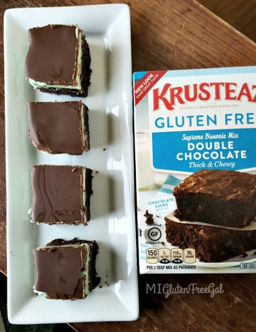 gluten-free triple mint brownies made with Krusteaz certified gluten-free Double Chocolate Brownie Mix