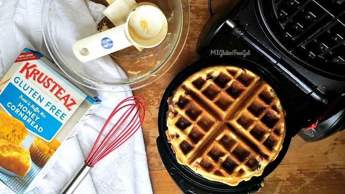 gluten-free corn dog waffles made in dedicate gluten-free waffle maker