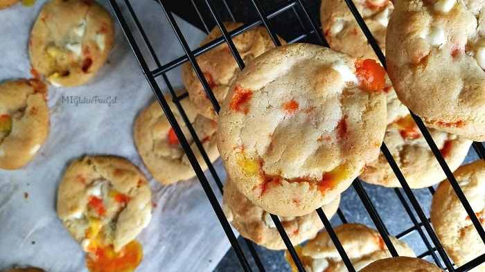 Gluten-Free White Chocolate Candy Corn Cookies on cooling rack
