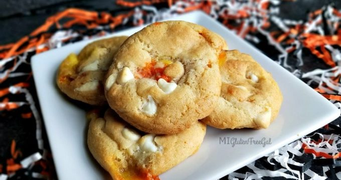 Gluten-Free White Chocolate Candy Corn Cookies