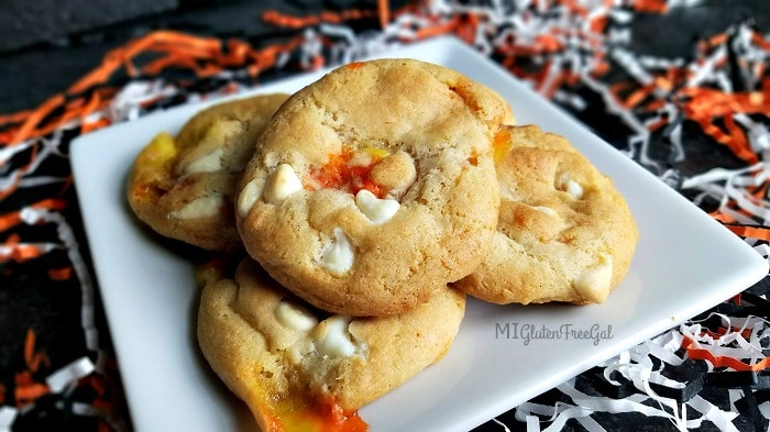 Gluten Free White Chocolate Candy Corn Cookies on plate with confetti