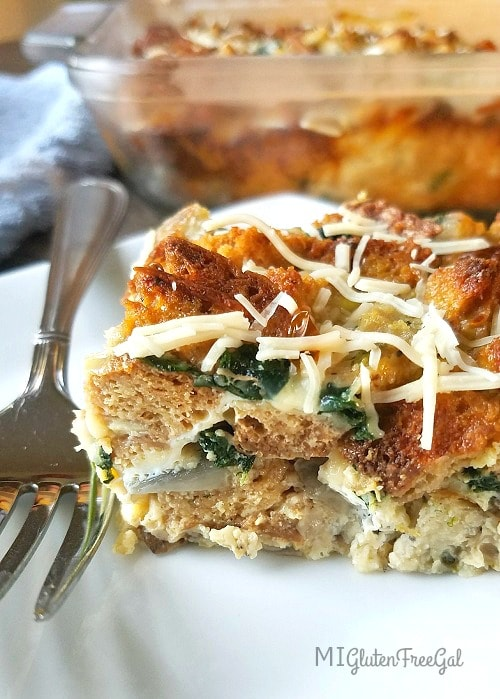 Start your morning off right with a slice of this gluten-free savory breakfast strata