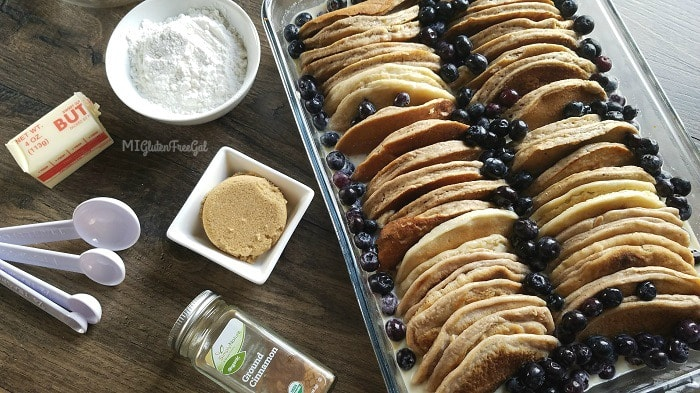 This Gluten-Free Blueberry Pancake Casserole is decadent and full of blueberry flavor!
