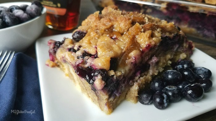 This Gluten-Free Blueberry Pancake Casserole is just popping with Michigan blueberries