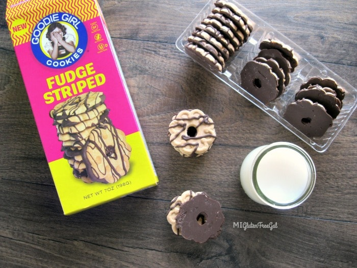 Enjoy these goodie girl fudge striped cookies with a glass of milk!