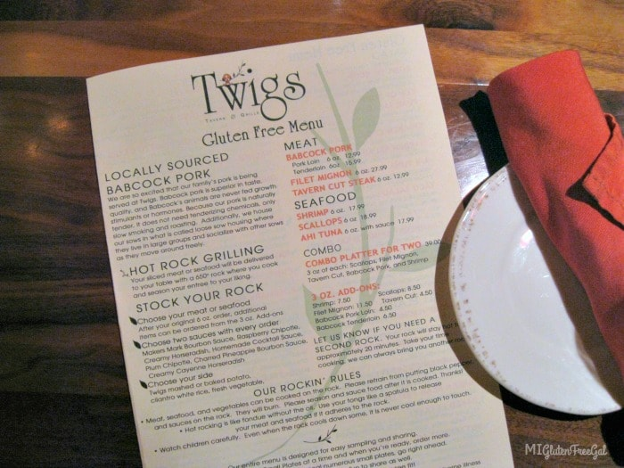 Twigs Tavern and Grille Offers 4 page gluten-free menu