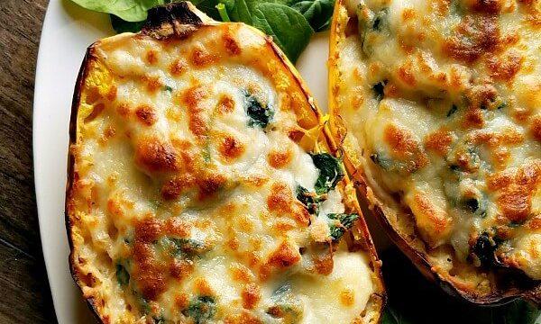 Gluten Free Chicken Alfredo Spaghetti Squash Boats
