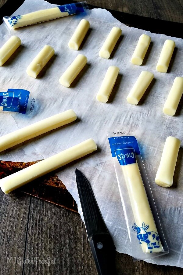 These baked mozzarella cheese sticks start with simple string cheese