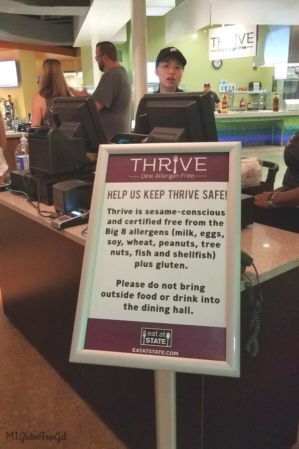Michigan State Thrive top 8 allergen free Dining Hall Warning Sign