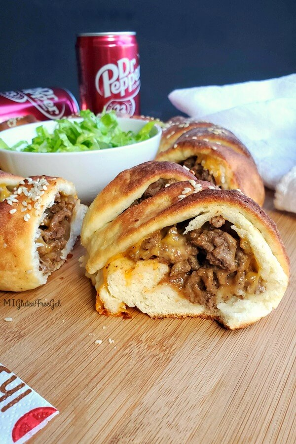 gluten free cheeseburger crescent ring inside view